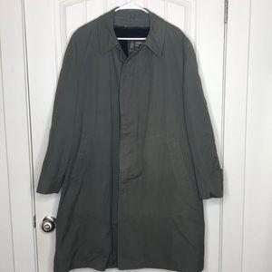 Vintage London Fog Trench Coat Army Green Fur